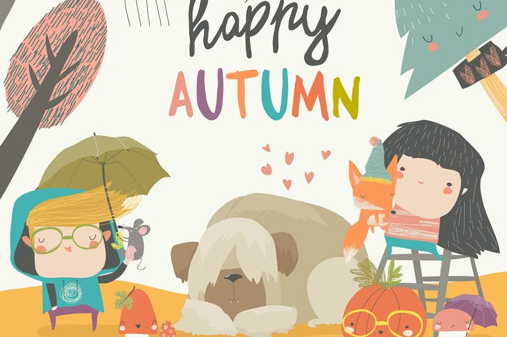 Cover Image For Cute children meeting autumn wearing warm clothes.