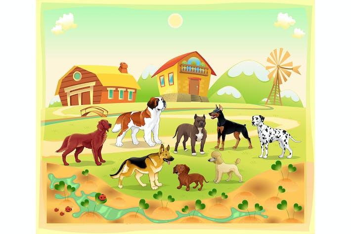 Thumbnail for Landschaft mit Gruppe von Hunden