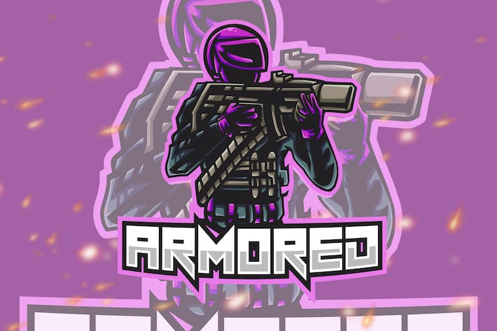 Thumbnail for Armored Shooter Esport Gaming Logo