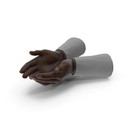 Traje de dos manos negras puñado pose
