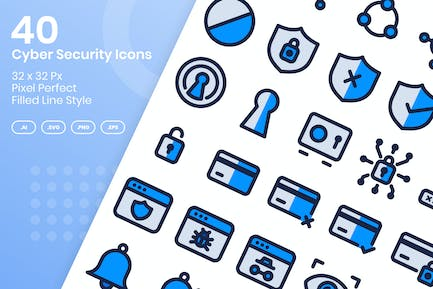 40 Cyber Security Icons Set - Filled Line