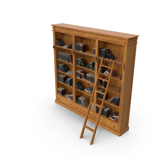 Thumbnail for Wood Library Bookcase with Books