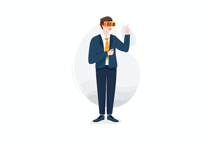 Thumbnail for Hombre de negocios probando las gafas de realidad virtual