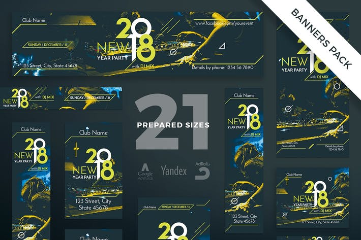 NewYear Party Banner Pack Template
