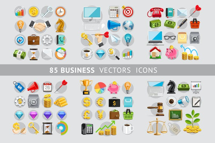 Thumbnail for 85 Business Icons Color Set.