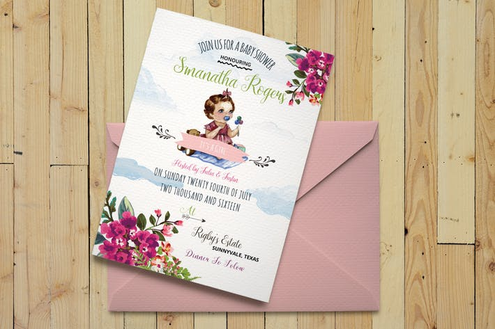 Thumbnail for DIY Watercolor Baby Shower Invitation