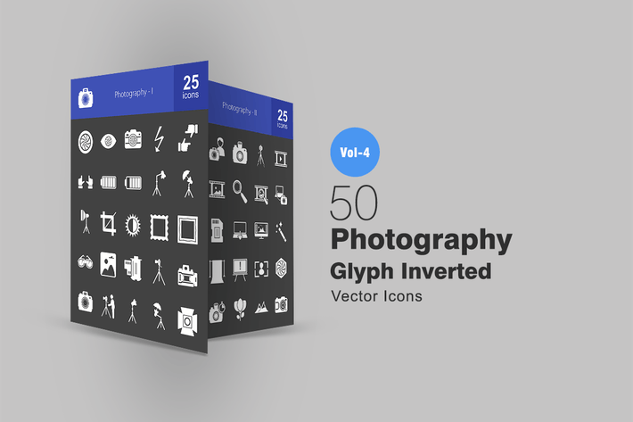Thumbnail for 50 Photography Glyph Inverted Icons
