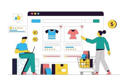 Ecommerce & Online Shopping Vector Illustration