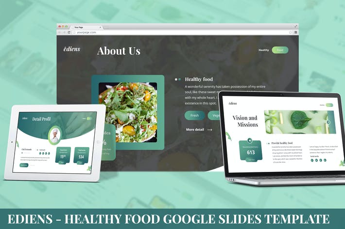 Thumbnail for Ediens - Healthy Food Google Slides Template