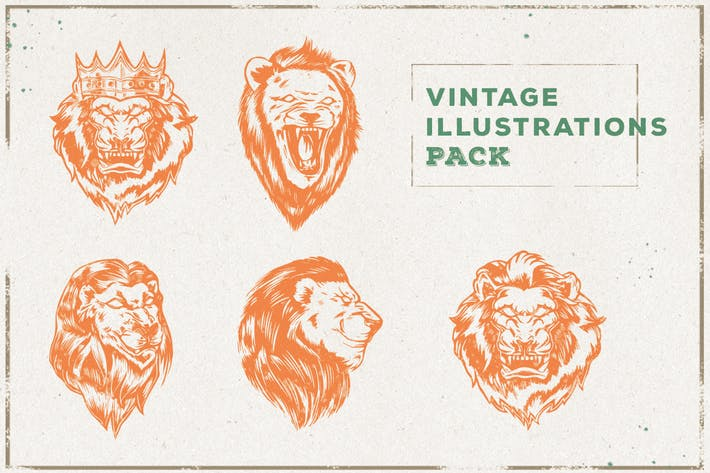 Thumbnail for Vintage Lion Illustration Pack