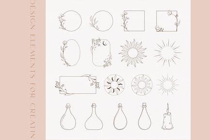 Black Floral Frames and Design Decorative Elements