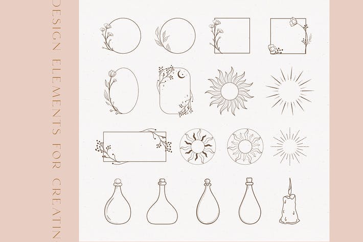 Thumbnail for Black Floral Frames and Design Decorative Elements