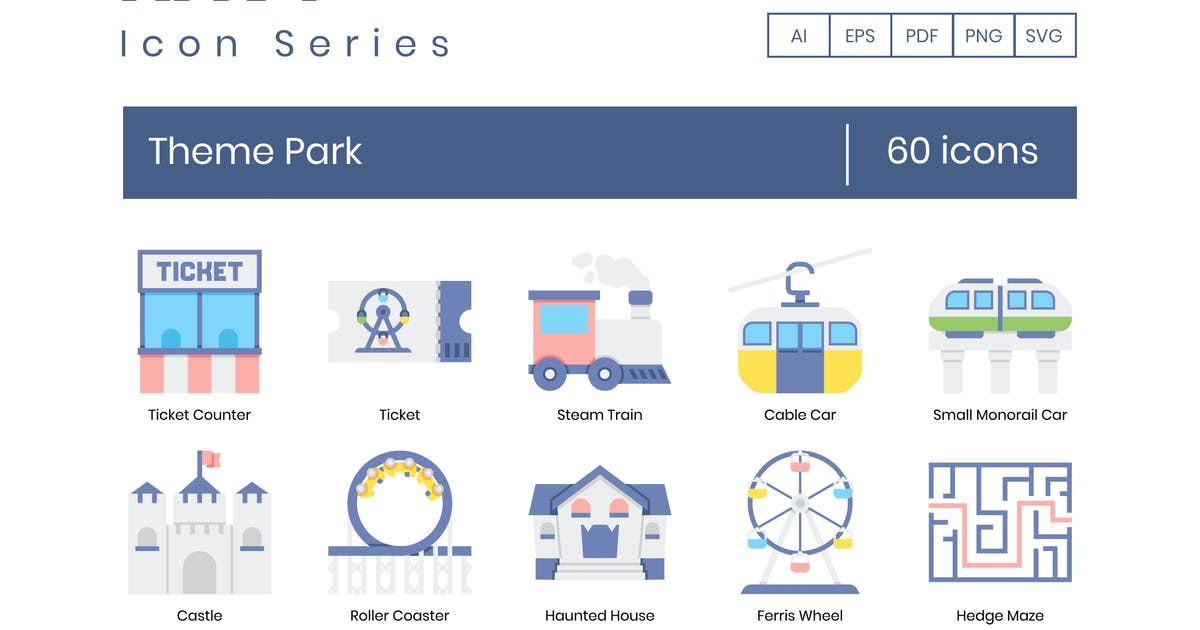 Download 60 Theme Park Flat Icons by Krafted
