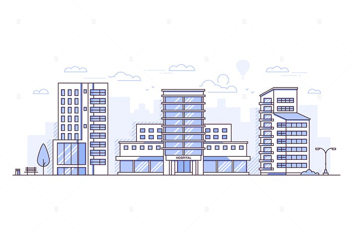 Cover Image For Cityscape with hospital - line design illustration