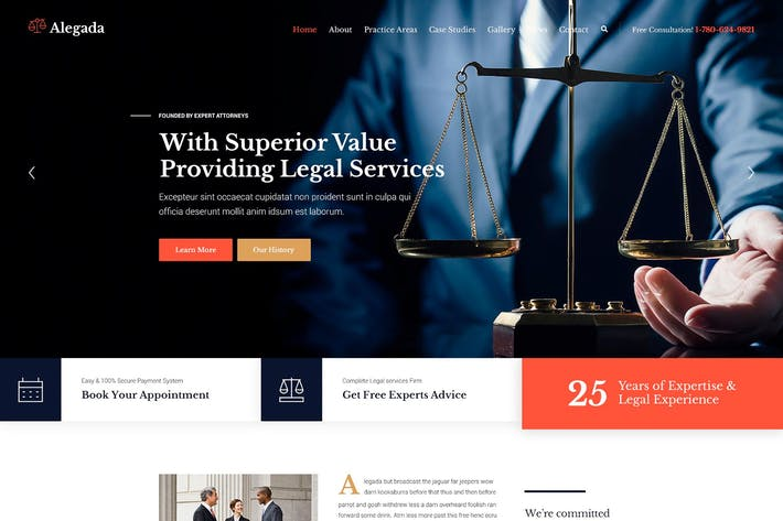 Thumbnail for Alegada - Law HTML Template