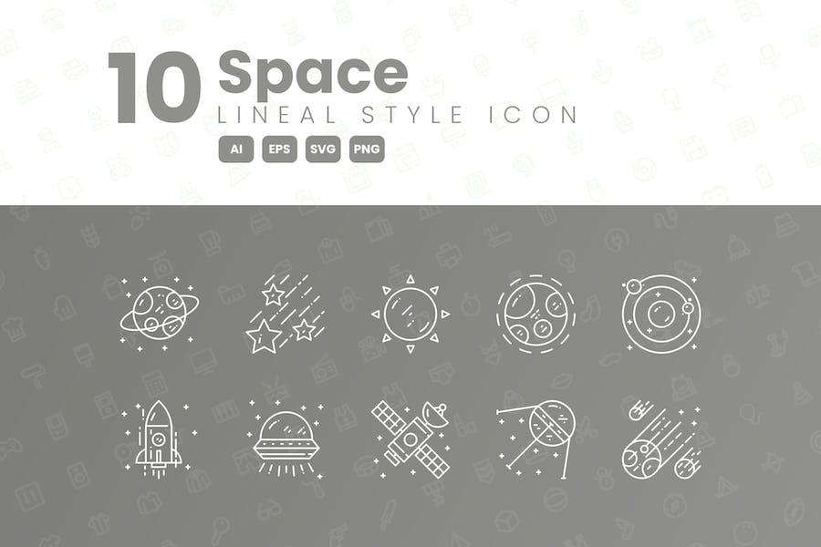 Detaillierte Icon-Sammlung mit 10 Space