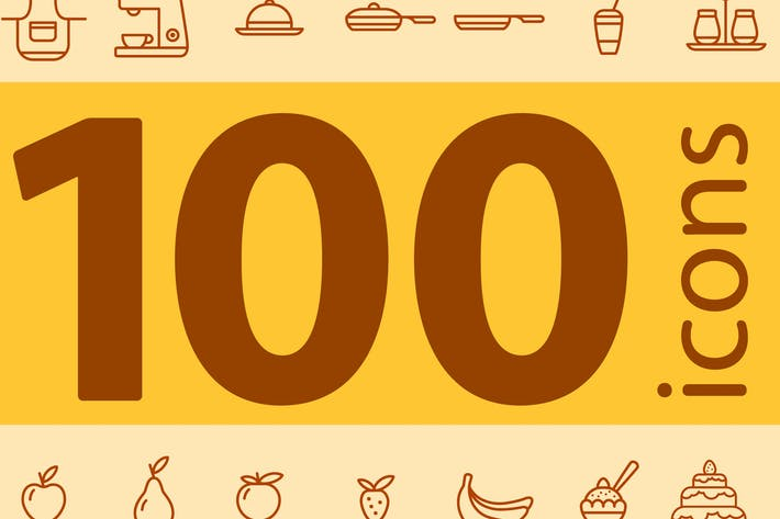 Thumbnail for Set of 100 kitchen icons