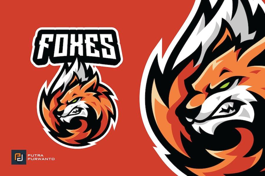 Fox Head Tail Mascot Esport Gaming Logo