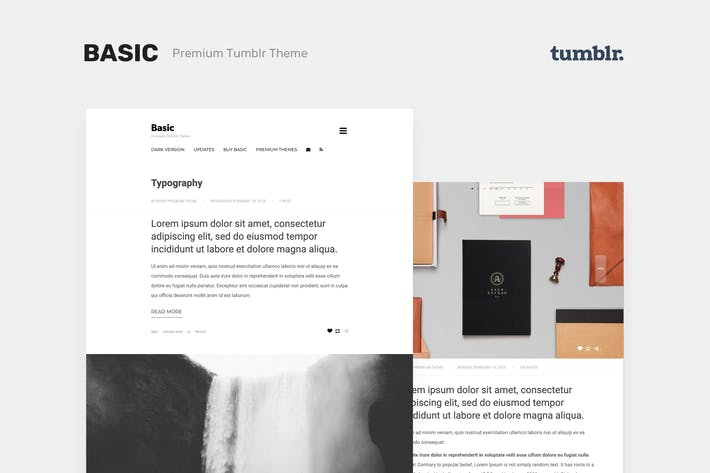 Thumbnail for Basic 3 - One Column, Blogging Tumblr Theme