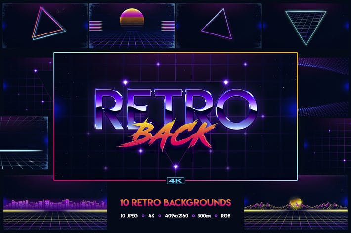 Thumbnail for 80s Retro Backgrounds vol.1