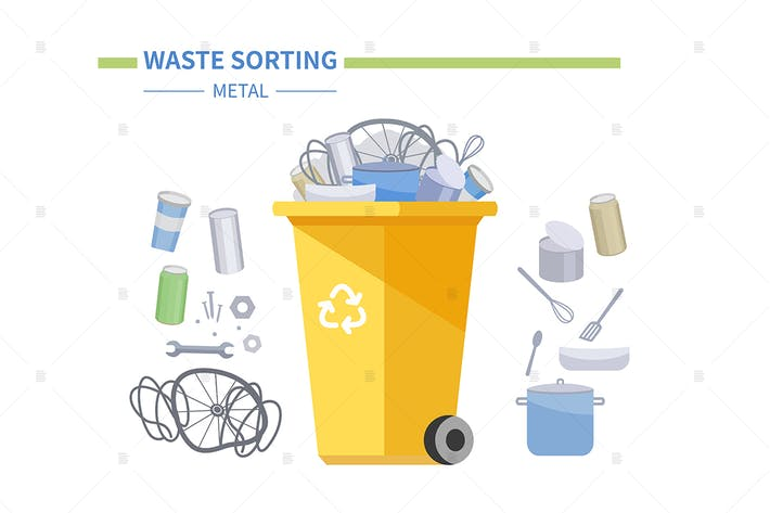 Thumbnail for Metal waste recycling - flat style illustration