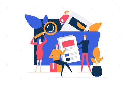 Search concept - flat design style illustration