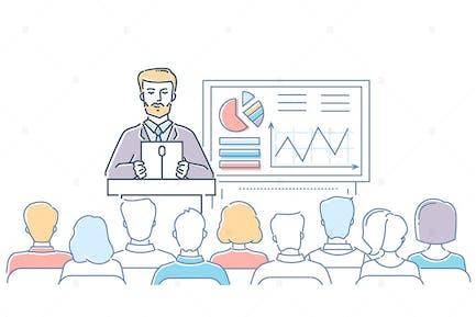 Business conference - line design illustration