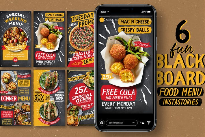 Fun Blackboard Food Menu Instagram Stories