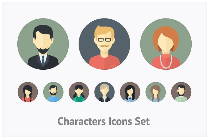 Thumbnail for Flat Characters Icons Set