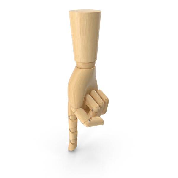 Wooden Hand Point Down