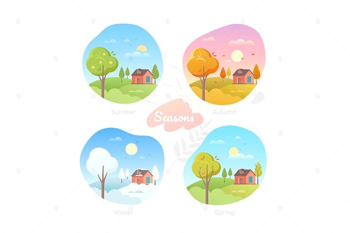 Thumbnail for Four seasons - set of flat design style elements