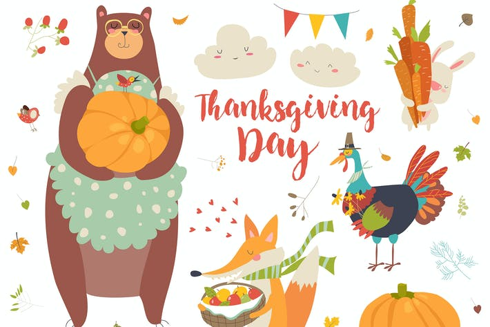 Thanksgiving set with cute forest animals, leaves