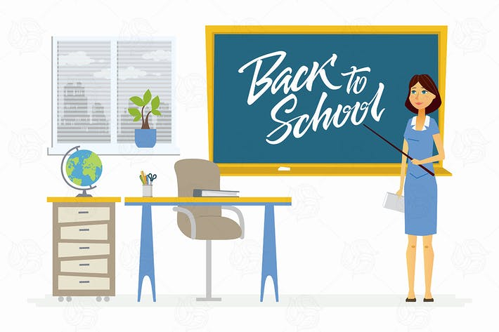 Thumbnail for Back to school - character of a female teacher
