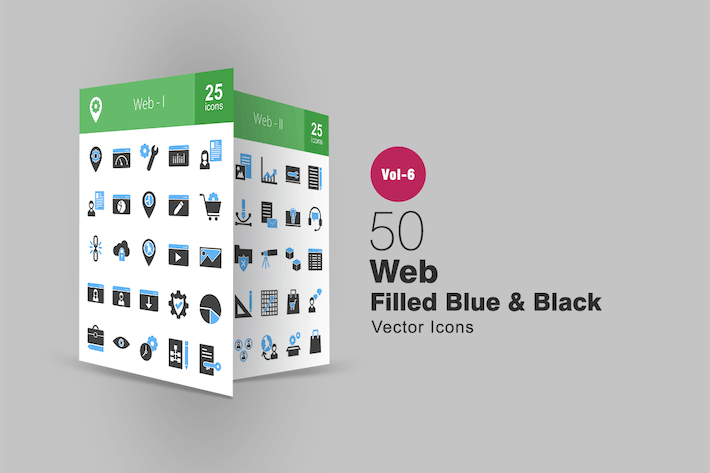 Thumbnail for 50 Web Blue & Black Icons