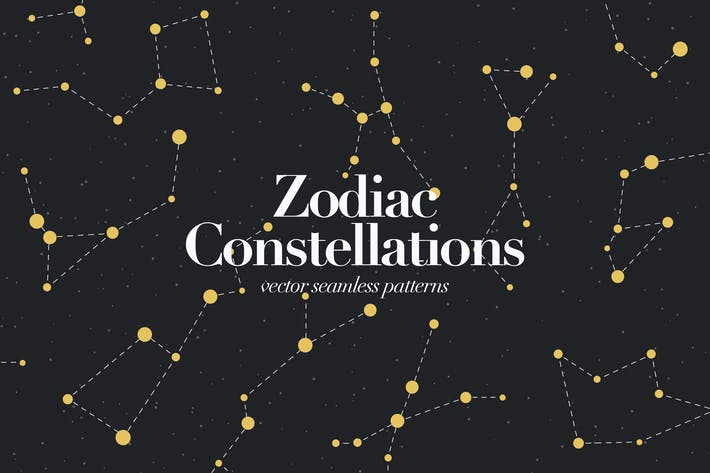 Thumbnail for Zodiac Constellations. Galaxy Seamless Pattern