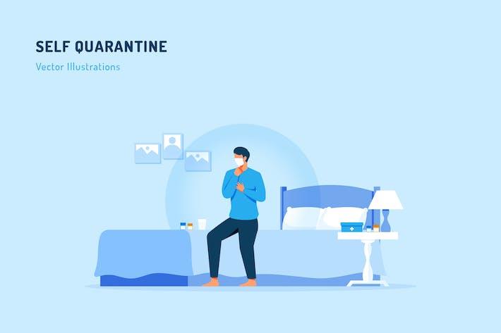 Thumbnail for Self-Quarantäne-Vektor Illustration