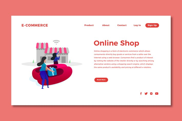 Thumbnail for Online Shopping - Landing Page Template