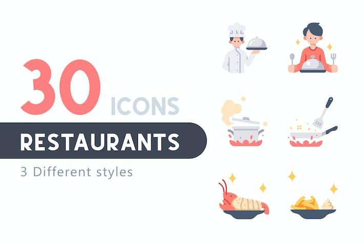 Thumbnail for 30 Restaurants icon set