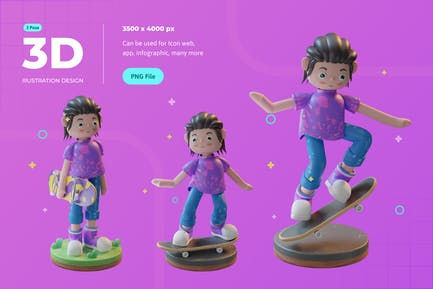 Character Playing Skateboard 3D Illustration