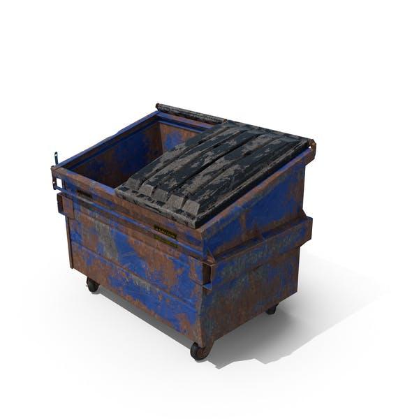 Уничтоженный мусорный бак наполовину открыт