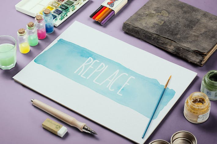 Thumbnail for Watercolor Paint Mockup Template #4