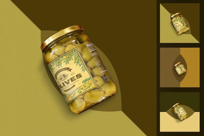 Thumbnail for Minimalistische Oliven Glas Mockup