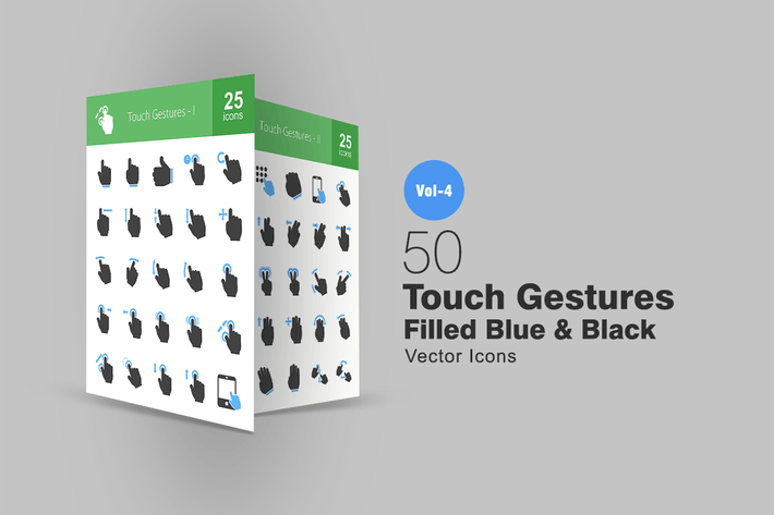 Thumbnail for 50 Touch Gestures Filled (Blue & Black) Icons