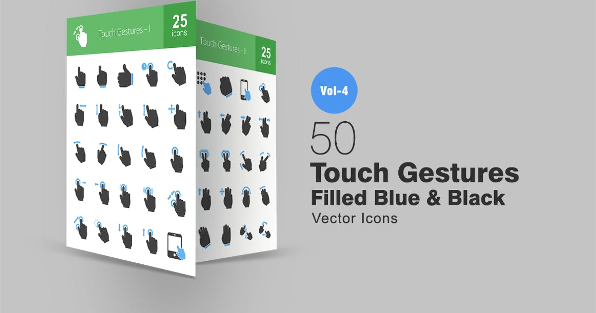 Download 50 Touch Gestures Filled (Blue & Black) Icons by Unknow