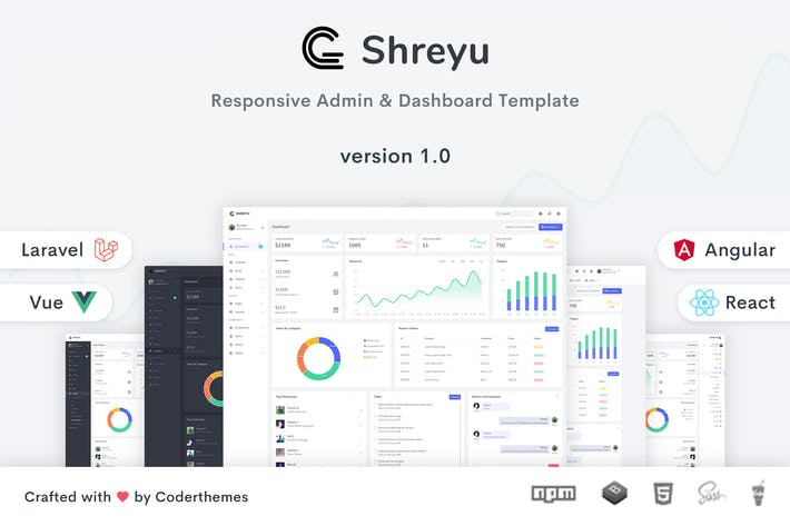 Thumbnail for Shreyu - Admin Dashboard Angular React Vue Laravel