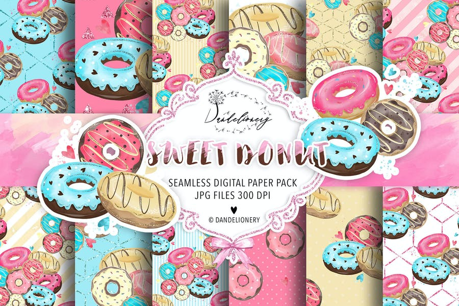 Donut digital paper pack