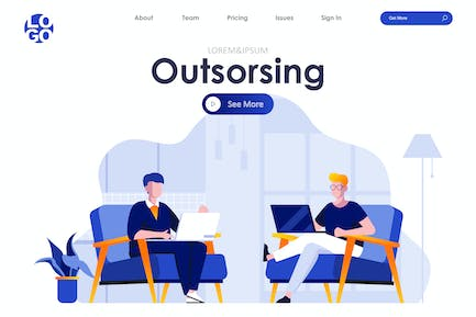 Outsourcing Service Landing Page Flat Concept