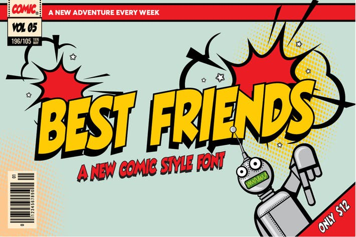Cover Image For Best Friends Comic Font