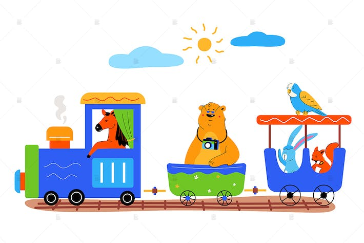 Thumbnail for Toy train with cute animals flat illustration