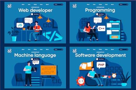 Modèle de page de destination du concept de développement Flat